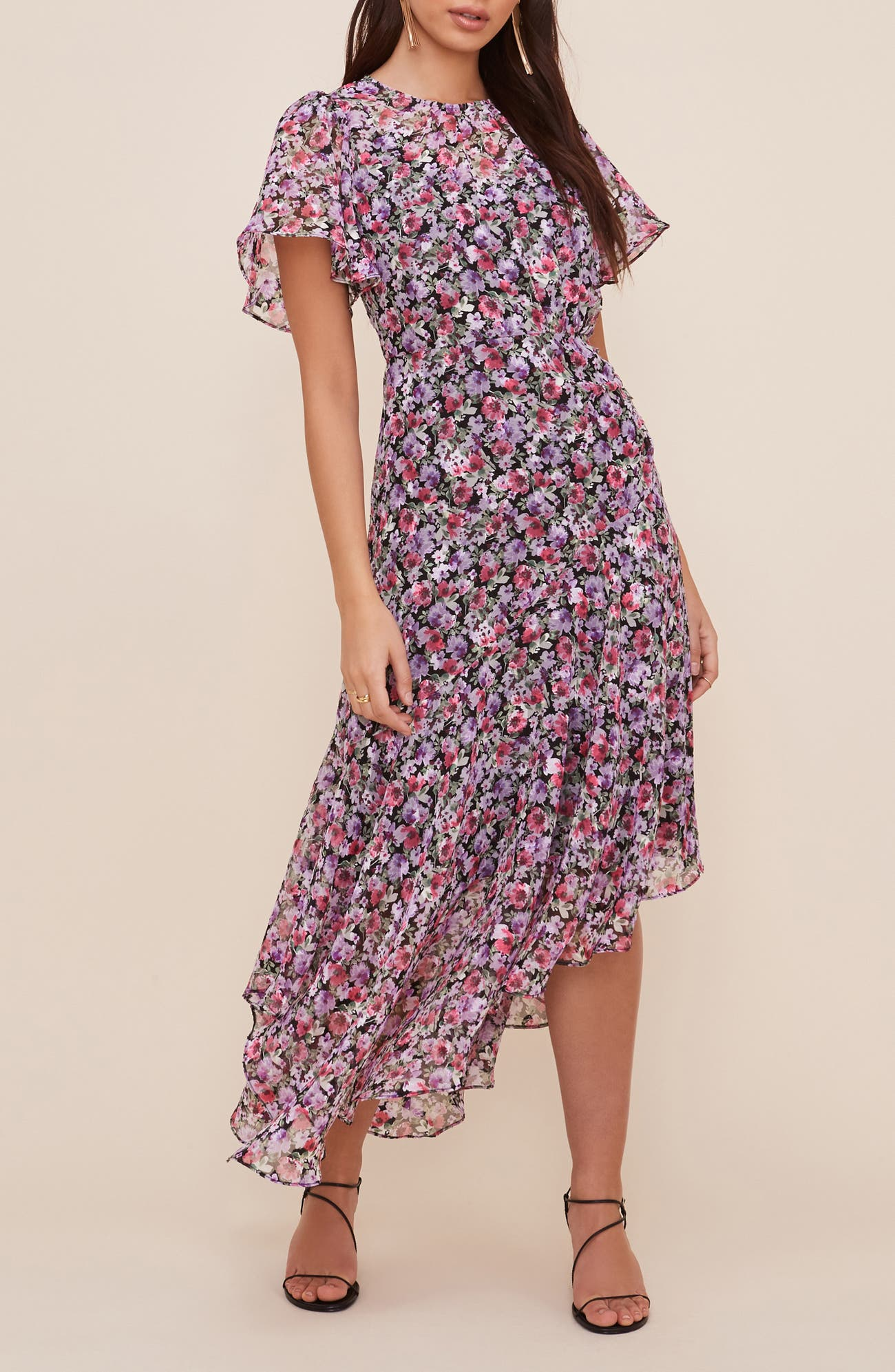 floral print dress with flutter sleeves for a spring wedding