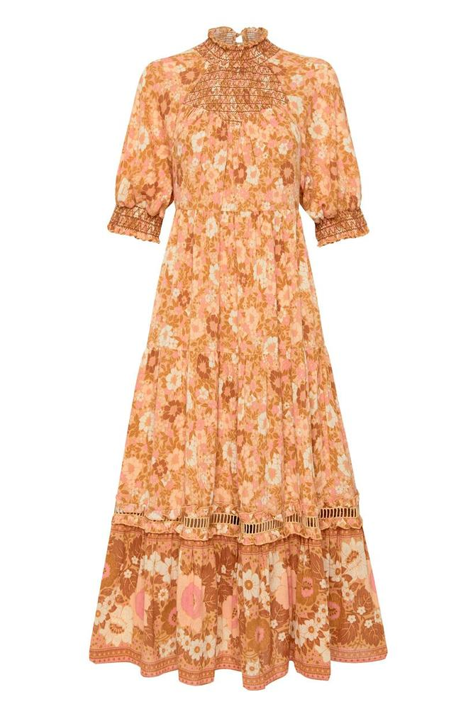 peach midi gown for a spring wedding guest dress