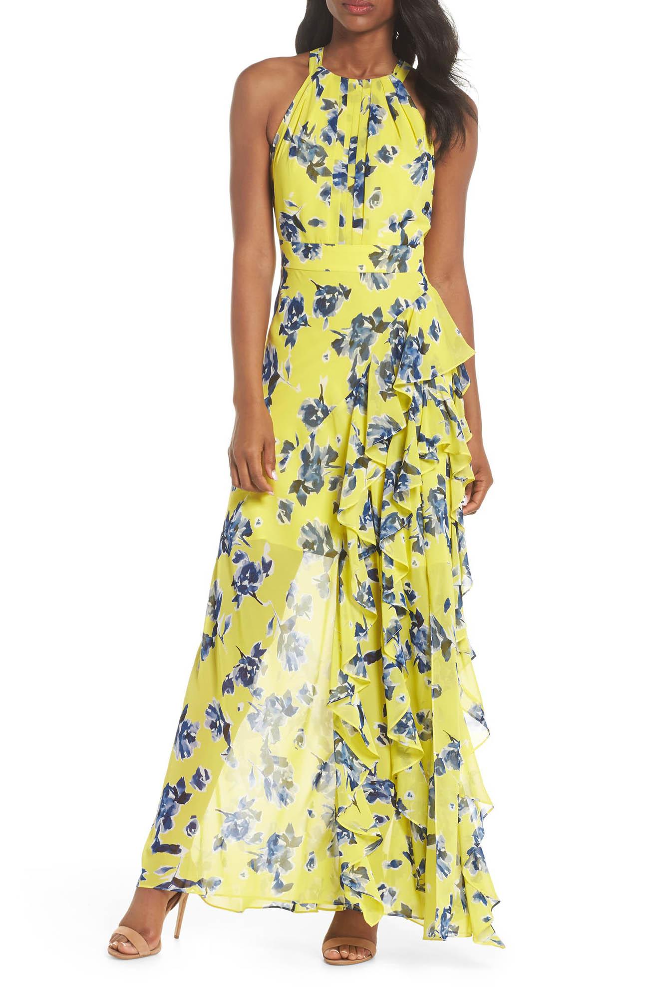 Yellow Halter Ruffle Maxi Dress