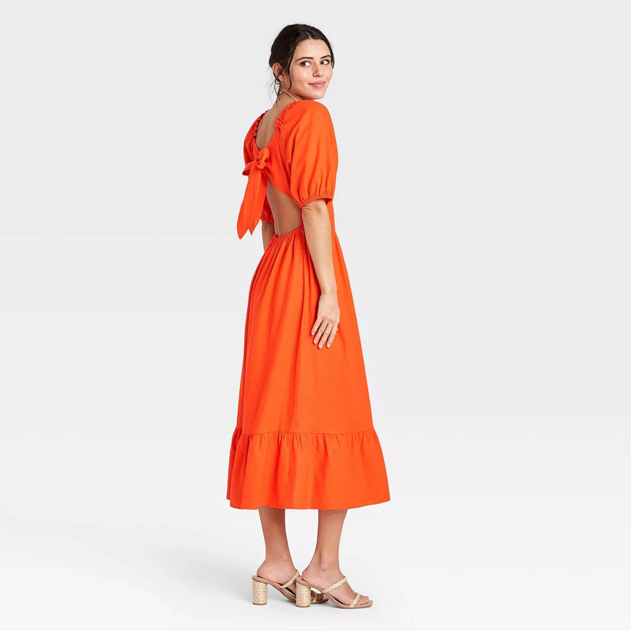 who what wear orange elbow puff spring guest wedding dress