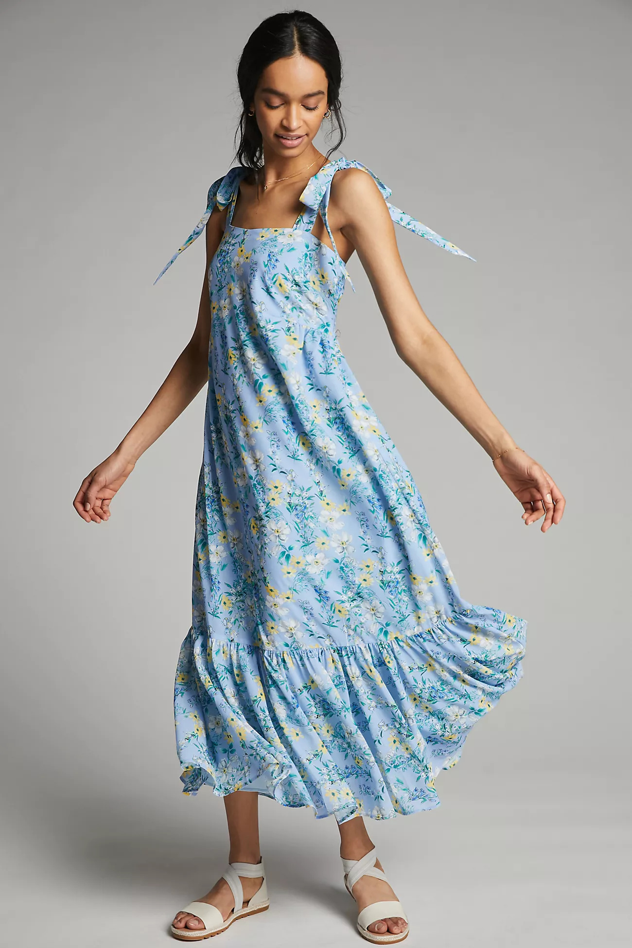 light blue floral spring wedding guest dress