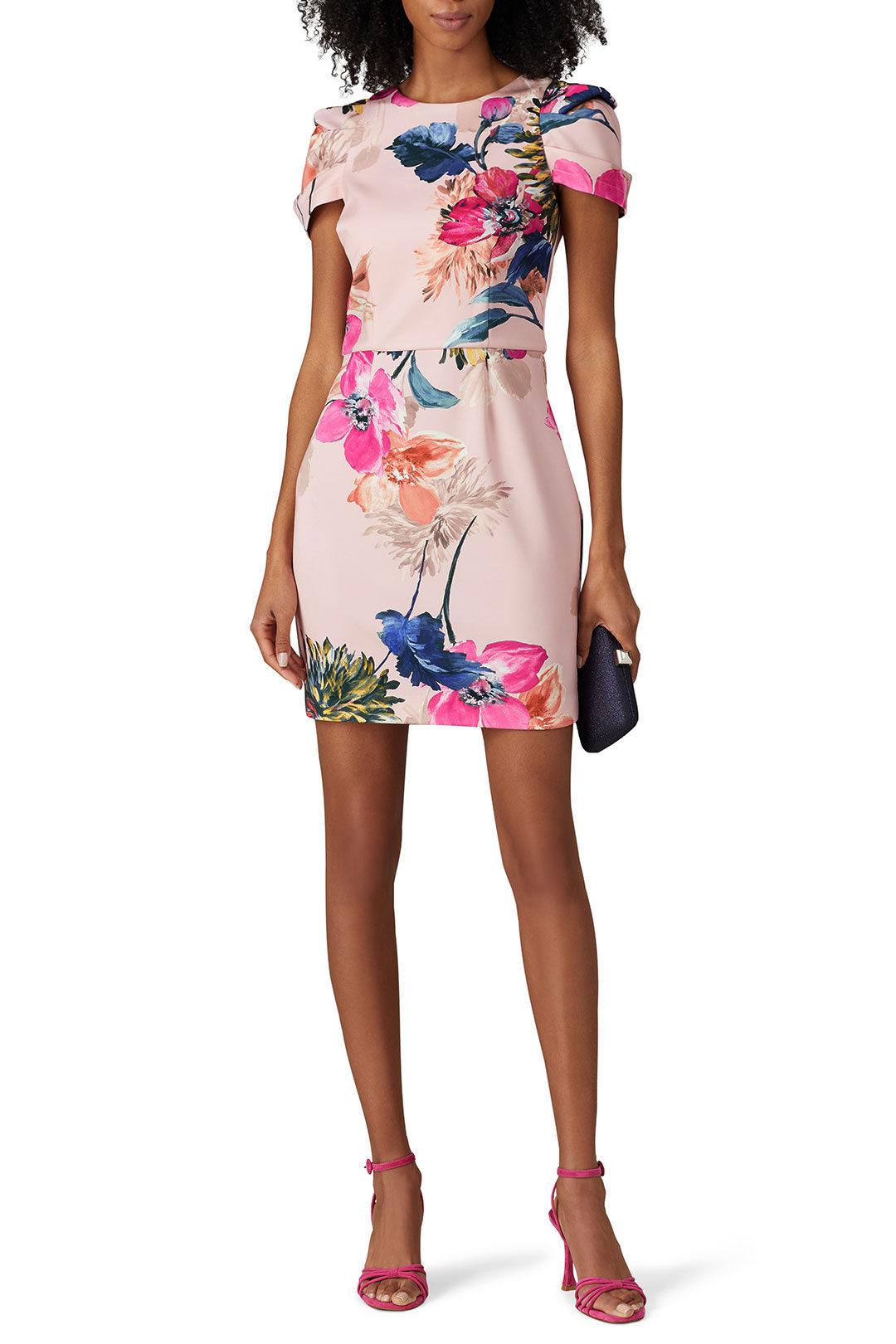 rent the runway pink floral wedding guest dress