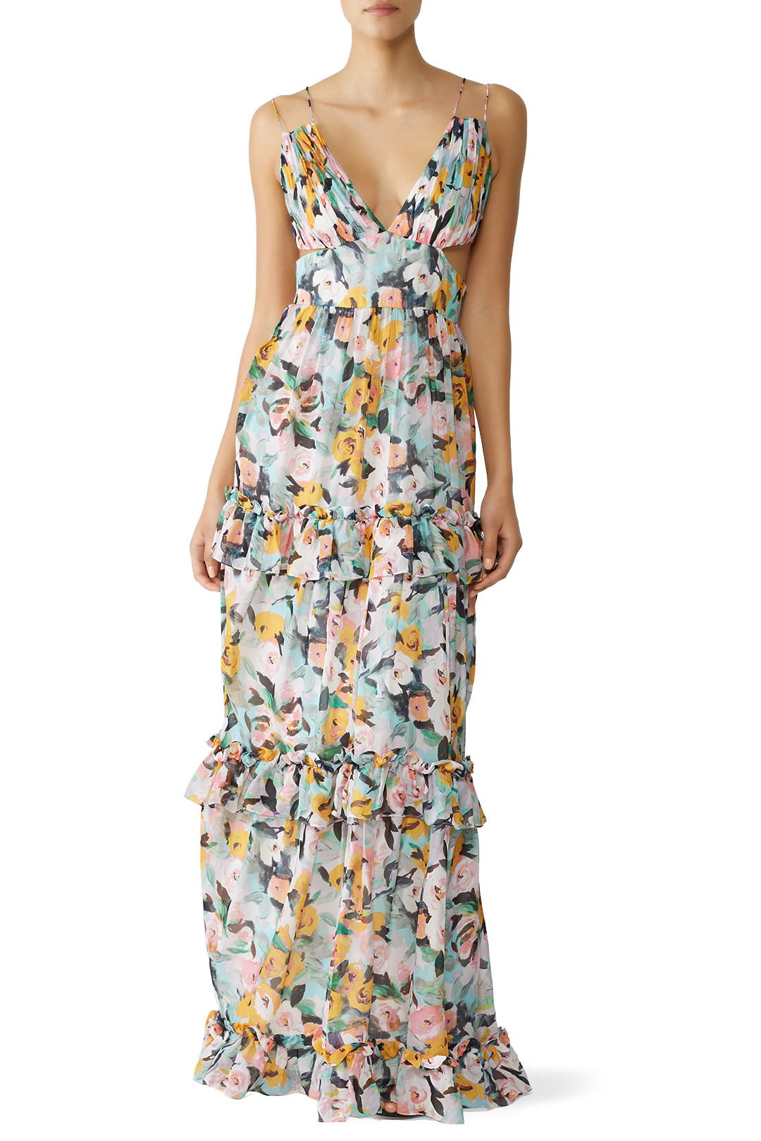 rent the runway floral spring wedding guest dress