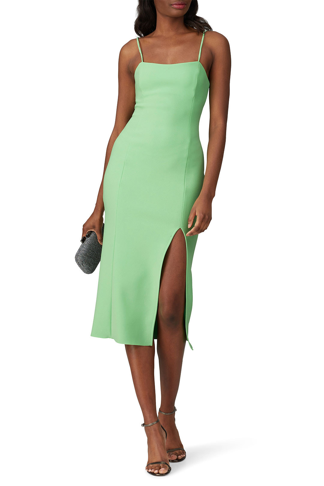 green midi dress for spring wedding guests