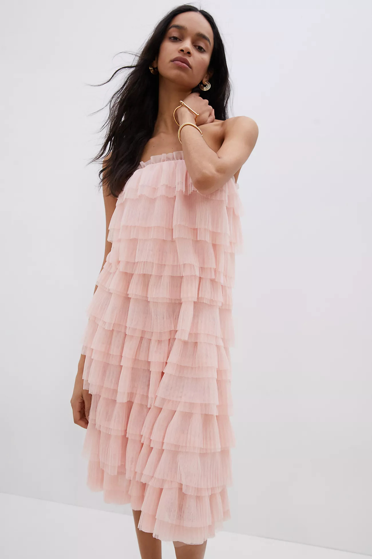pink tiered tulle spring wedding guest dress