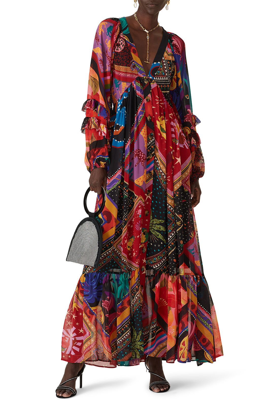 colorful button down maxi to wear to a spring wedding