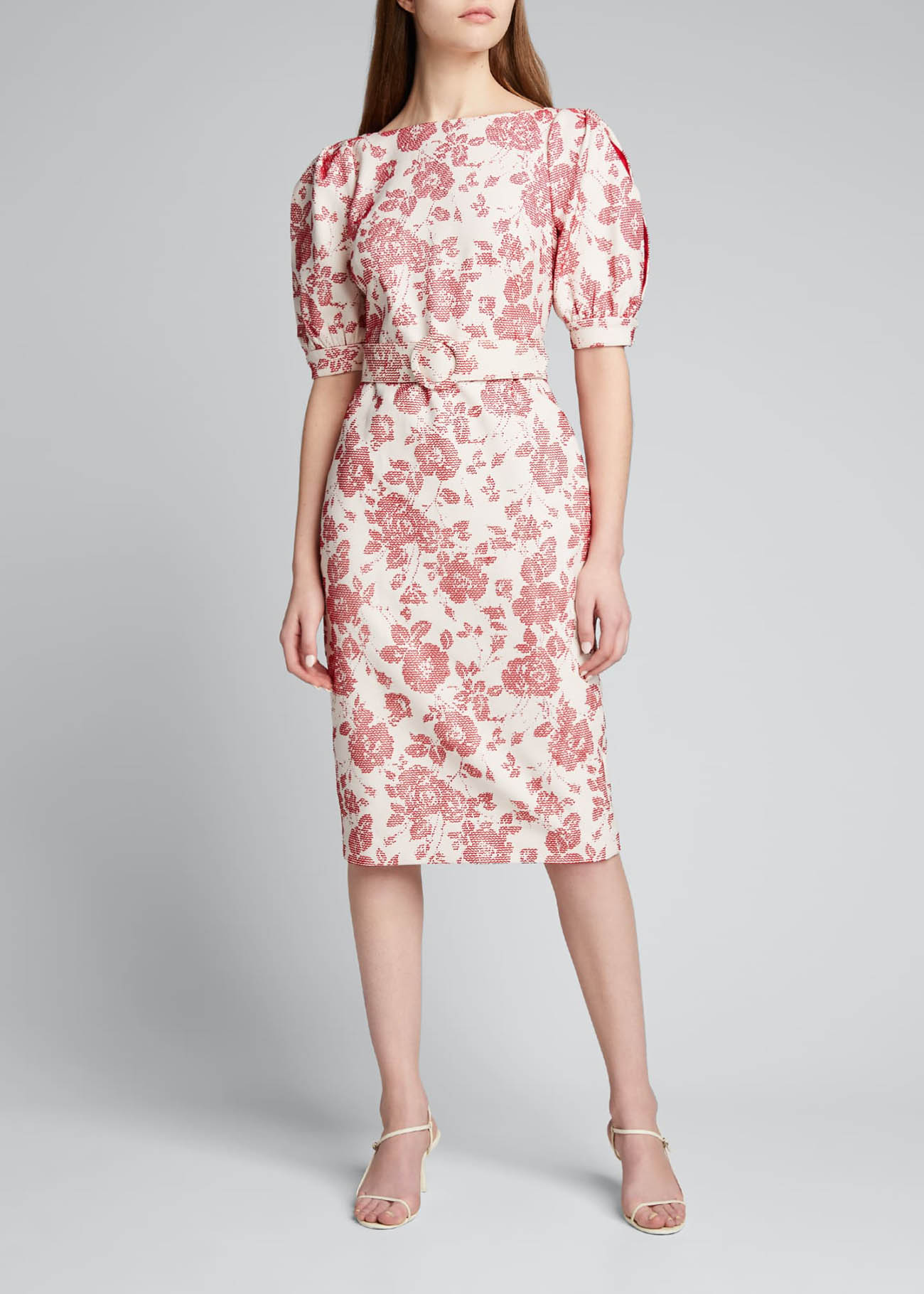 Floral Jacquard Puff-Sleeve Belted Sheath Dress for spring weddings