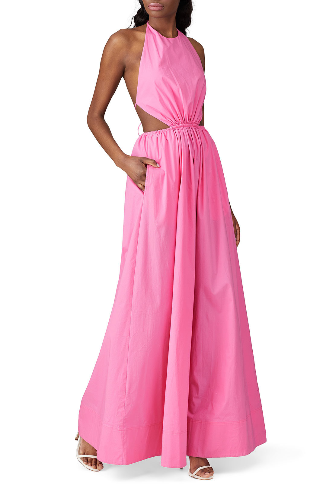 rent the runway pink maxi dress for a spring wedding