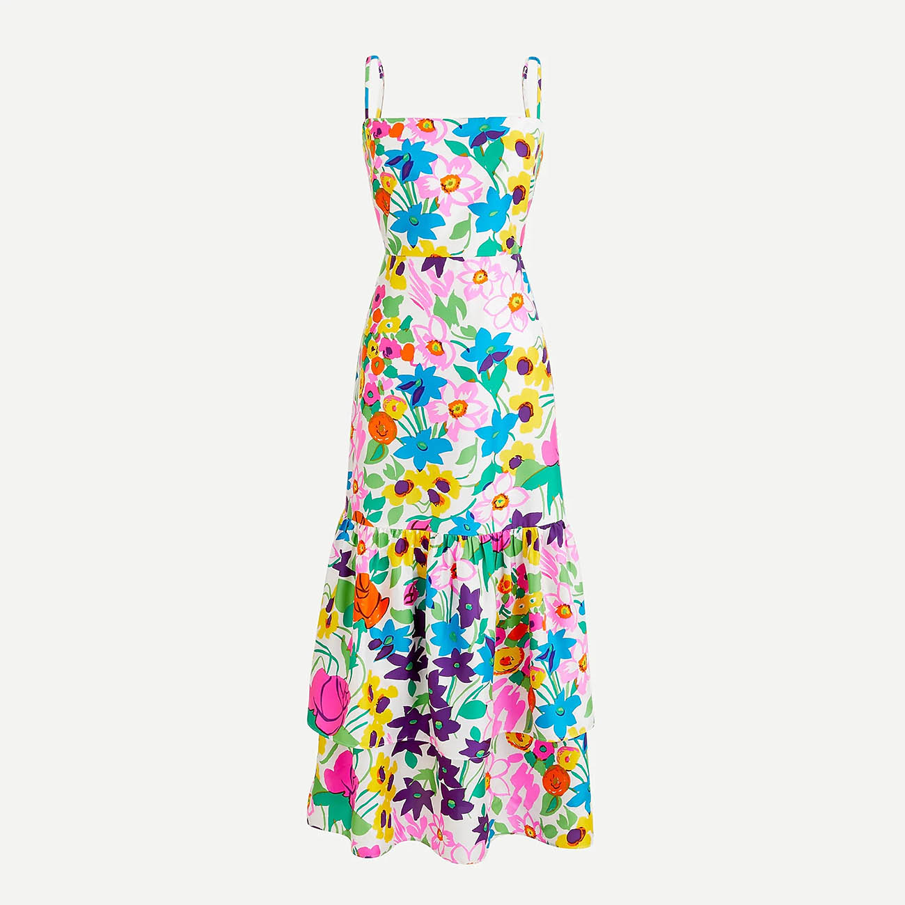 bright floral dress for a spring wedding