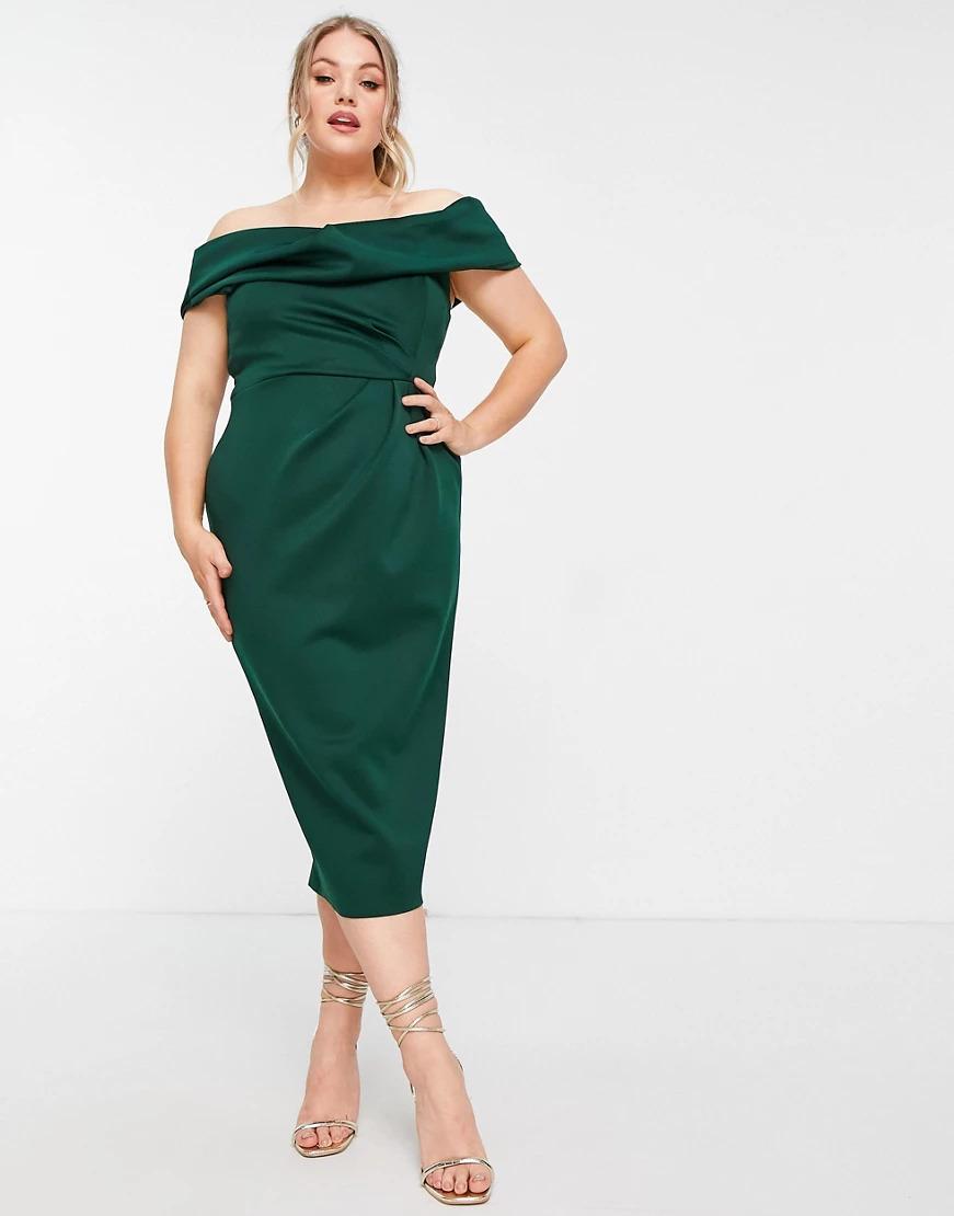 Curve drape fallen shoulder midi pencil dress in forest green for a spring wedding