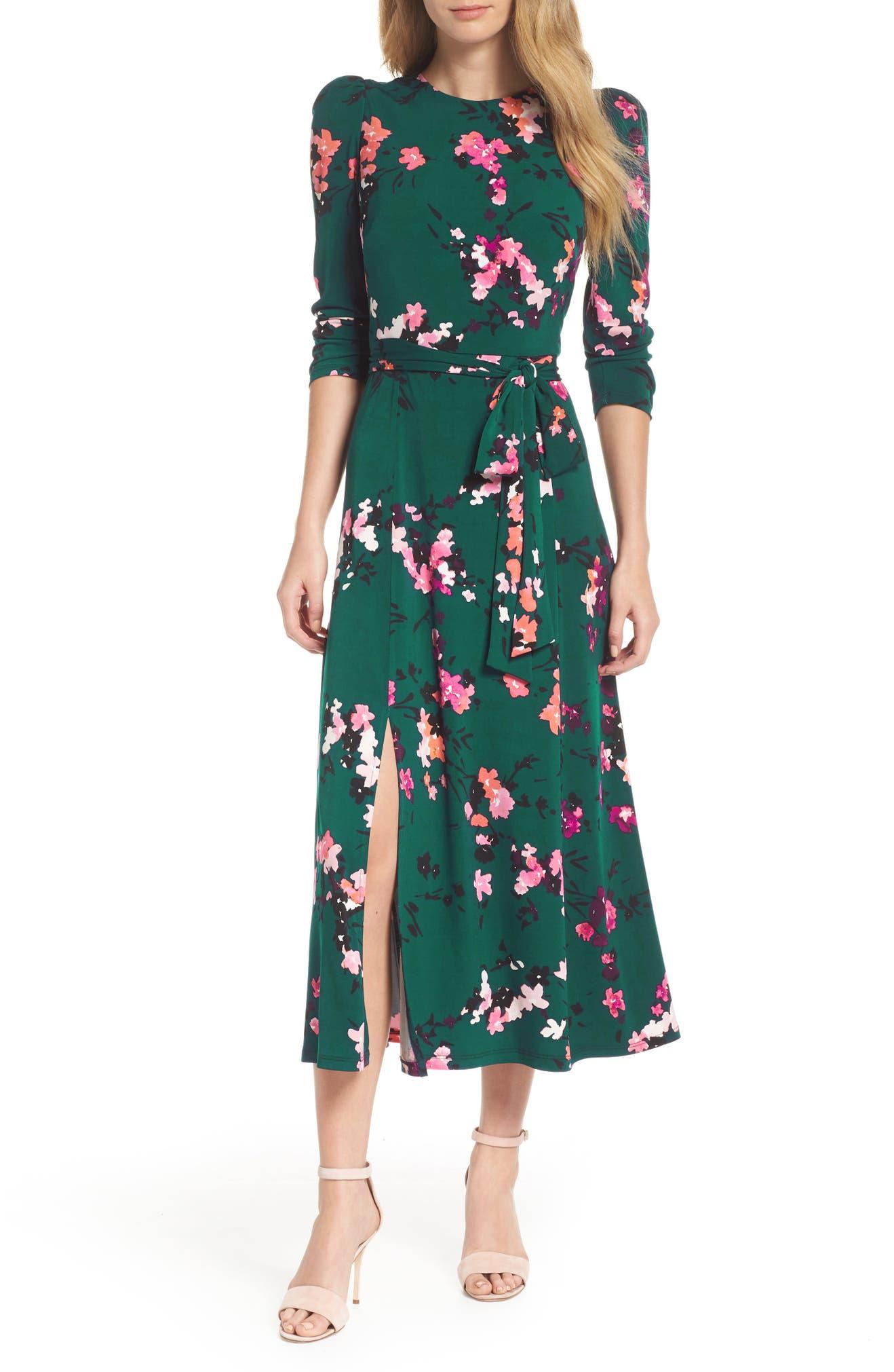 green floral spring wedding guest dress