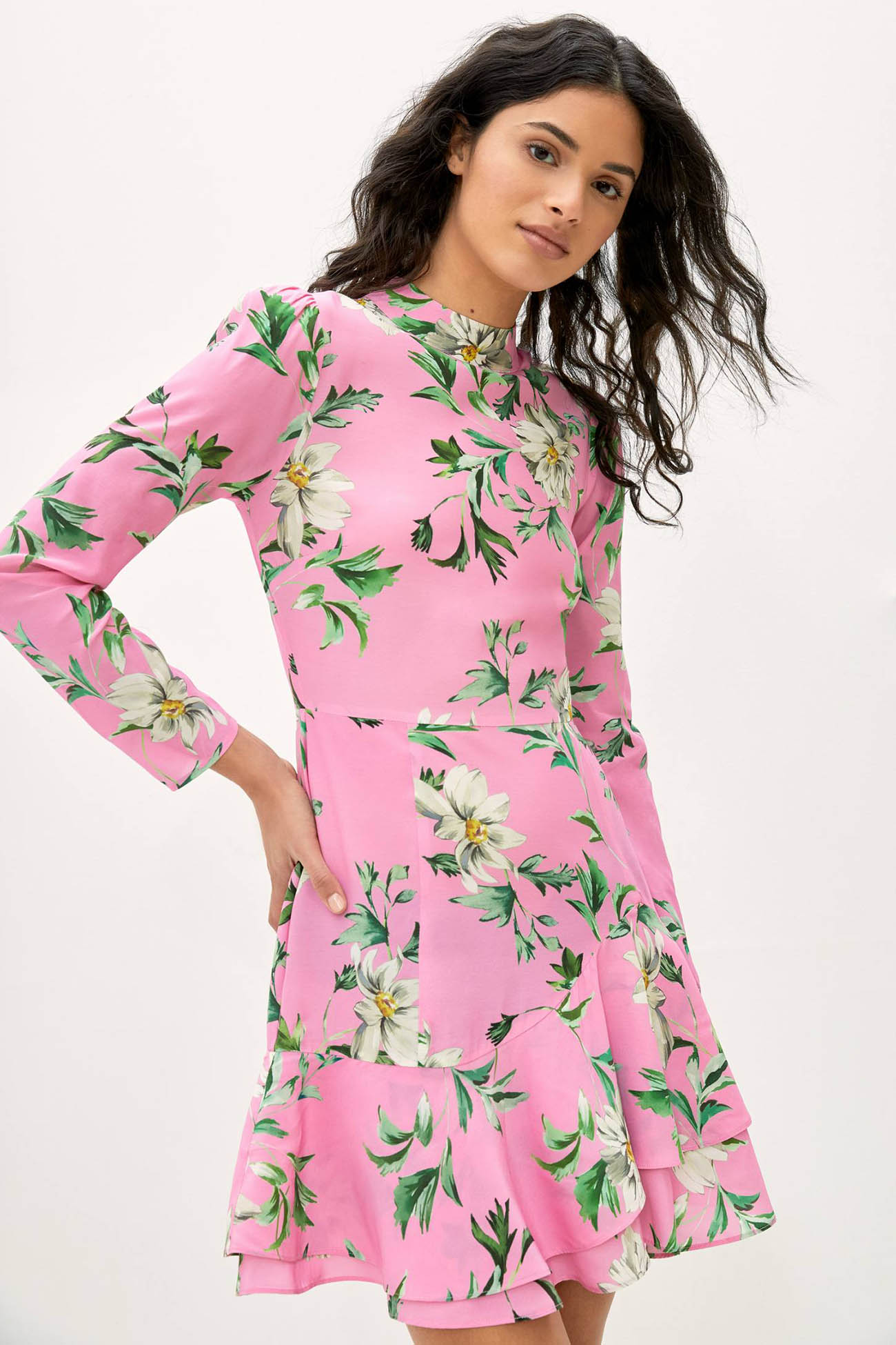 bright pink floral dress for a spring wedding
