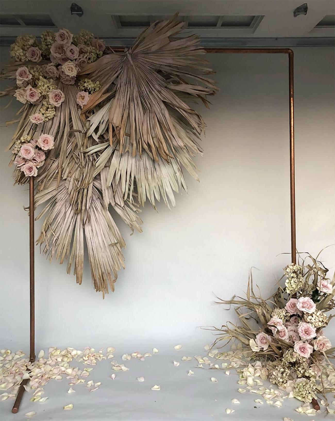 Dried Palm Leaf Wedding Backdrop