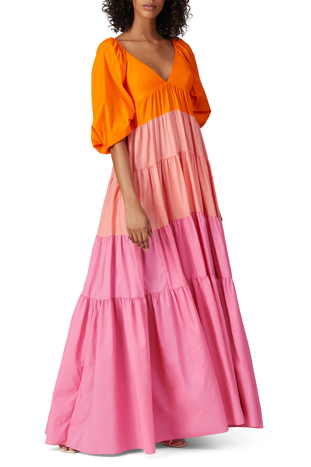 rent the runway striped meadow maxi to a spring wedding