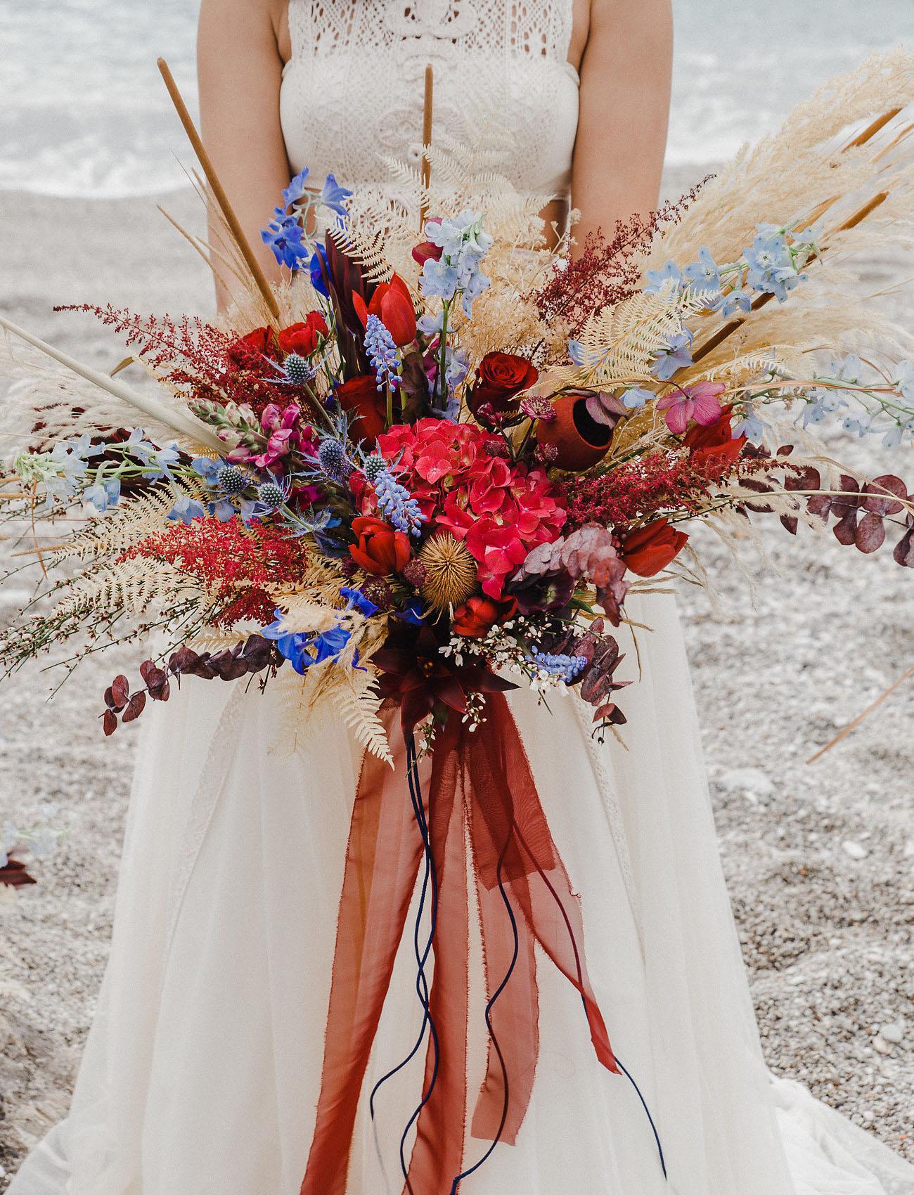 red boho bouquet