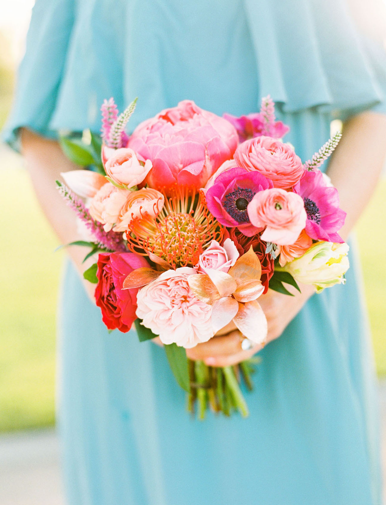 pink anemone bridesmaid bouquet