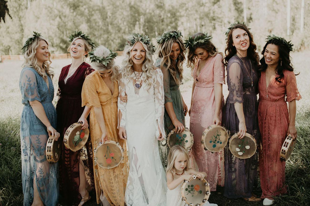 tambourine bridesmaids bouquets