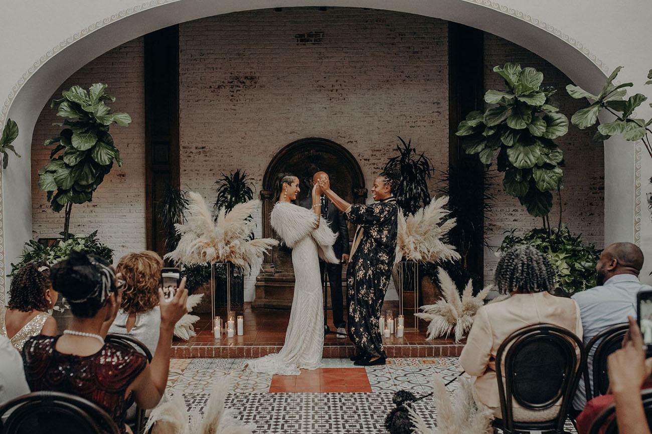 Vintage Glamour Long Beach Wedding