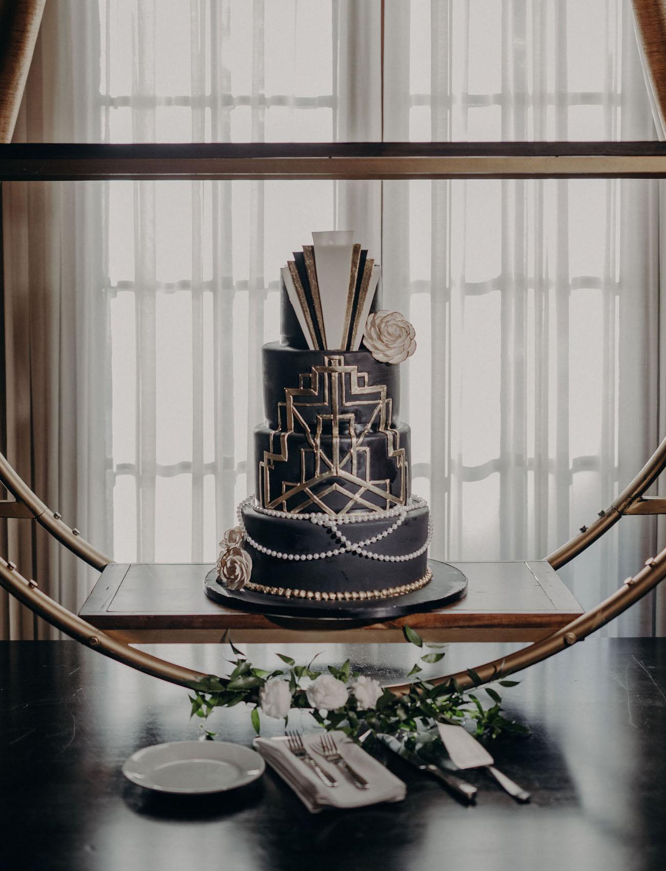 vintage black wedding cake