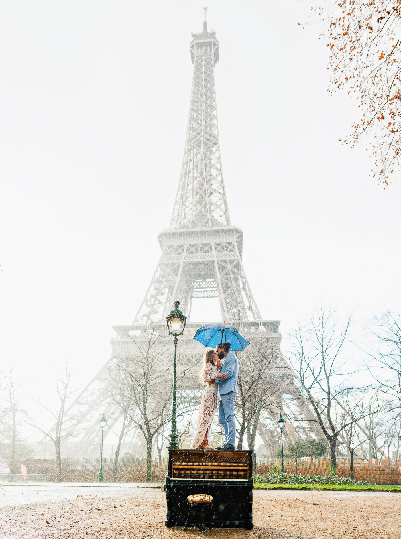 Elopement with a Piano under the Eiffel Tower