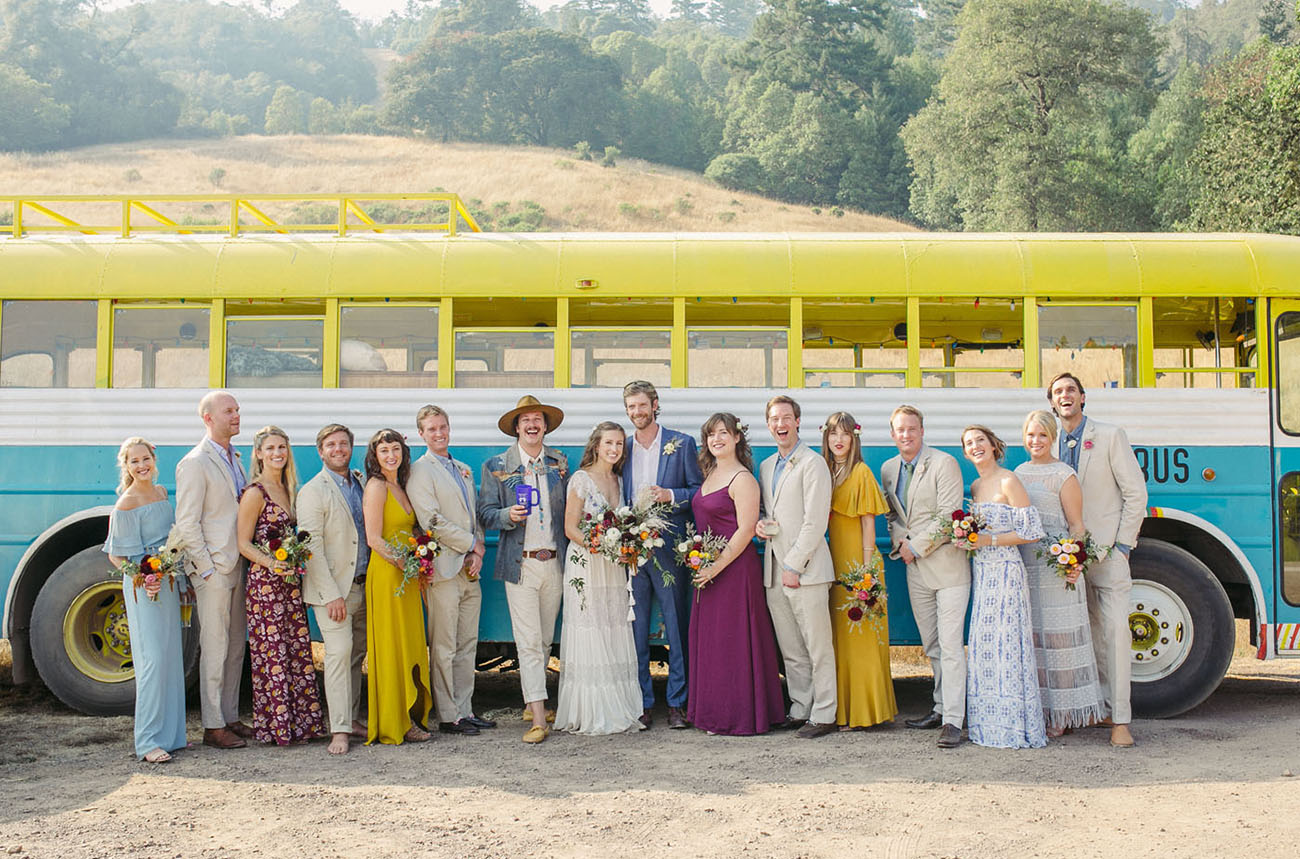 Hippie Love Bus Wedding Transportation