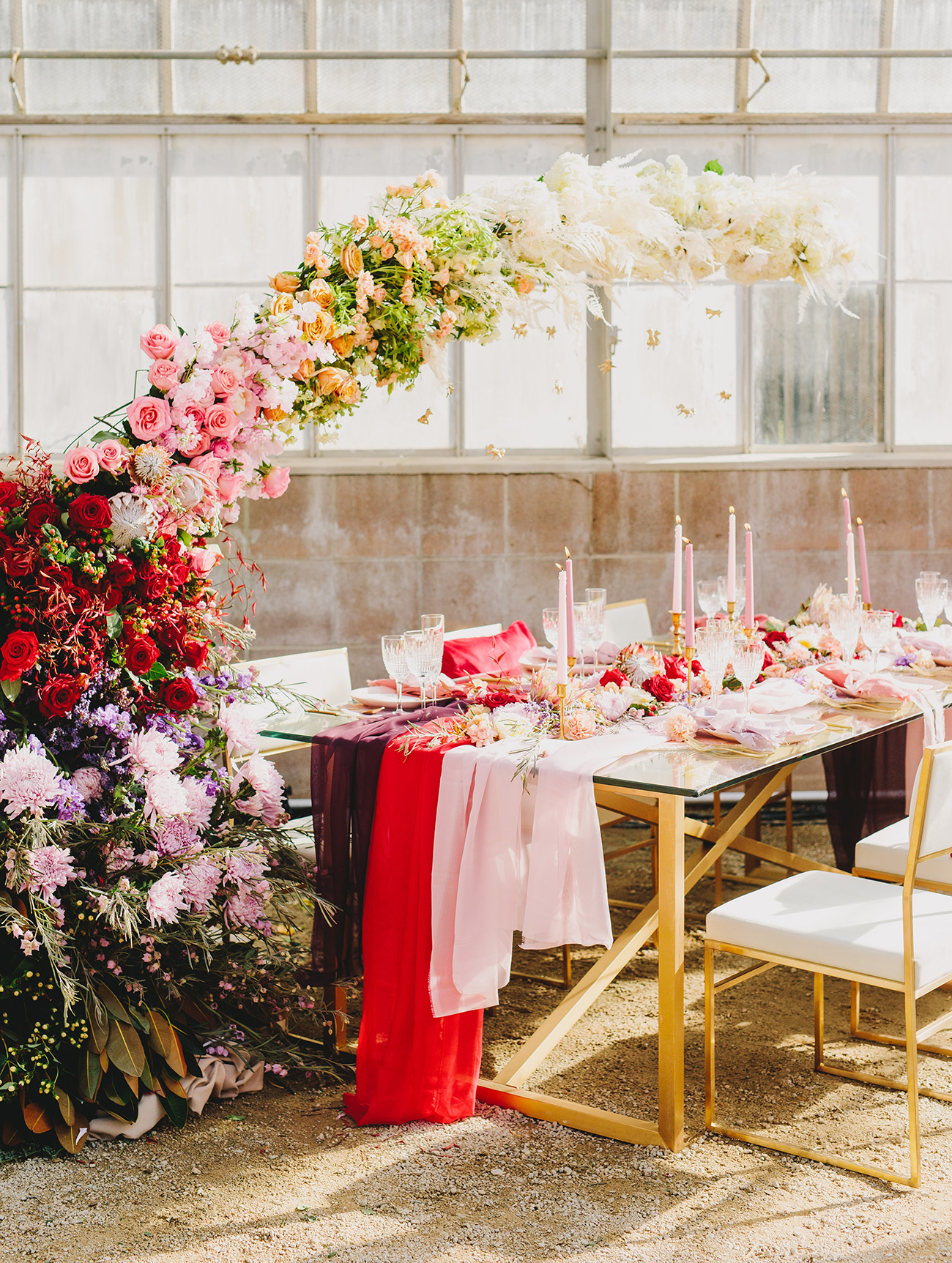 rainbow florals over table