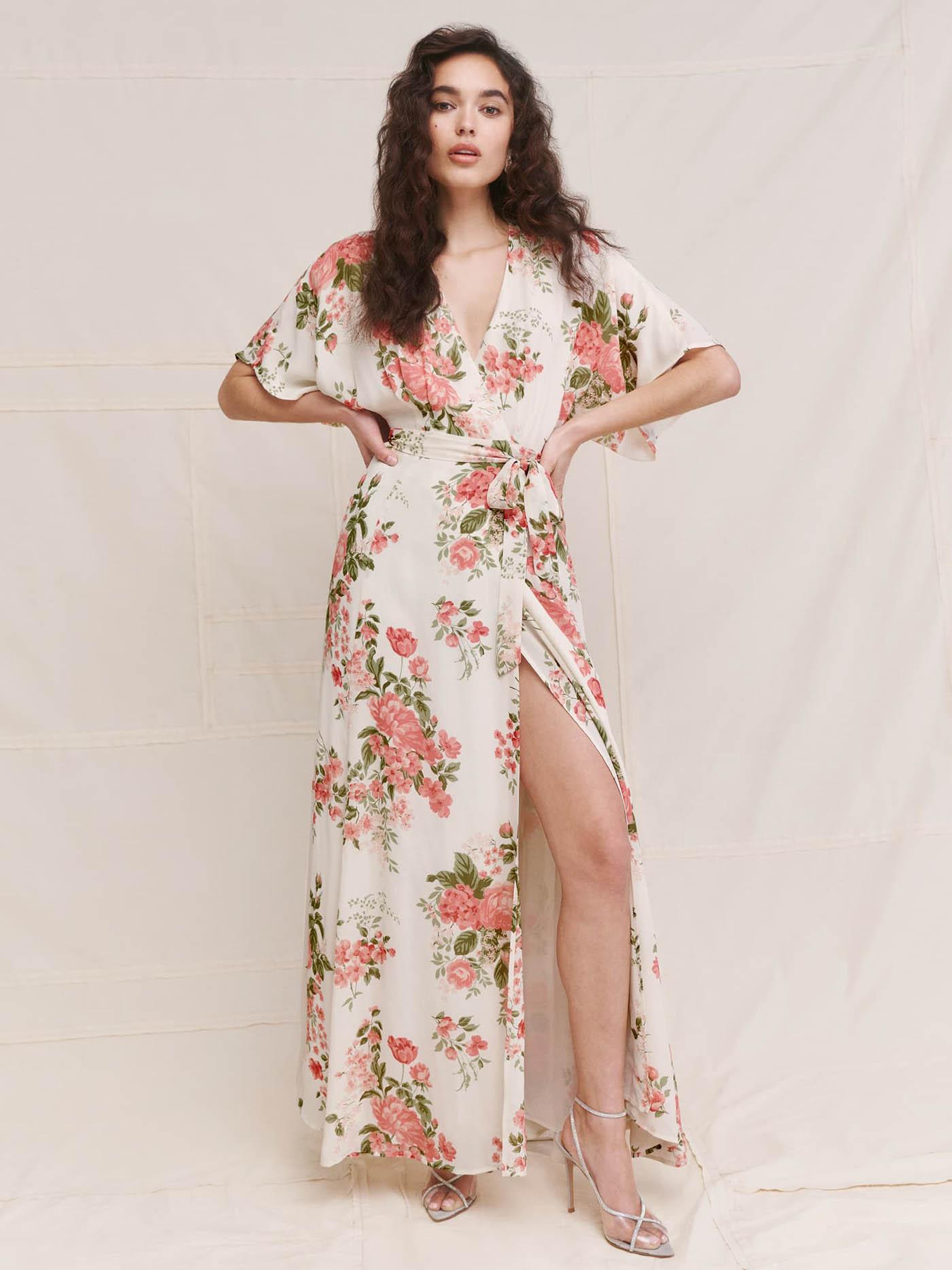 ivory reformation floral dress