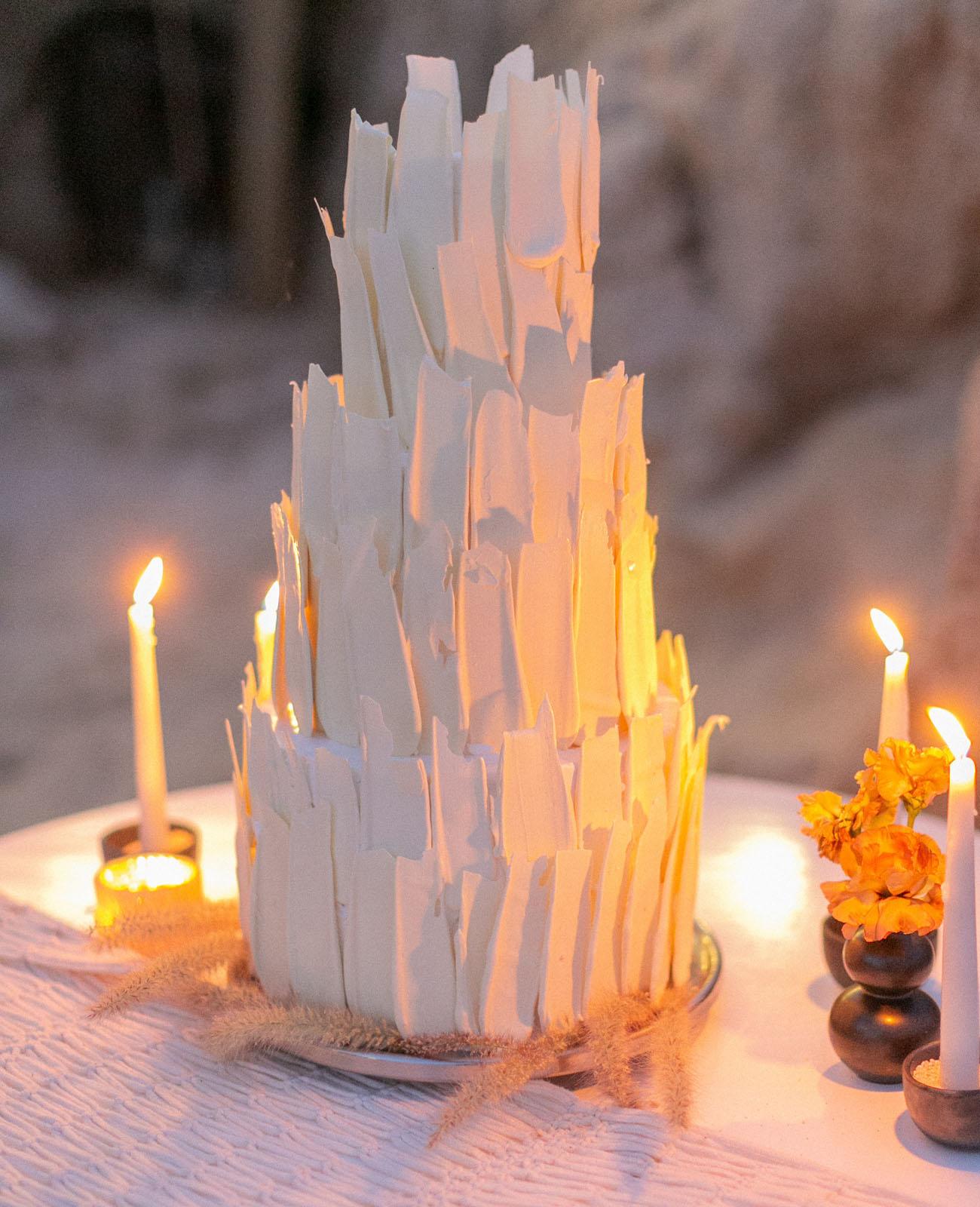 white modern wedding cake