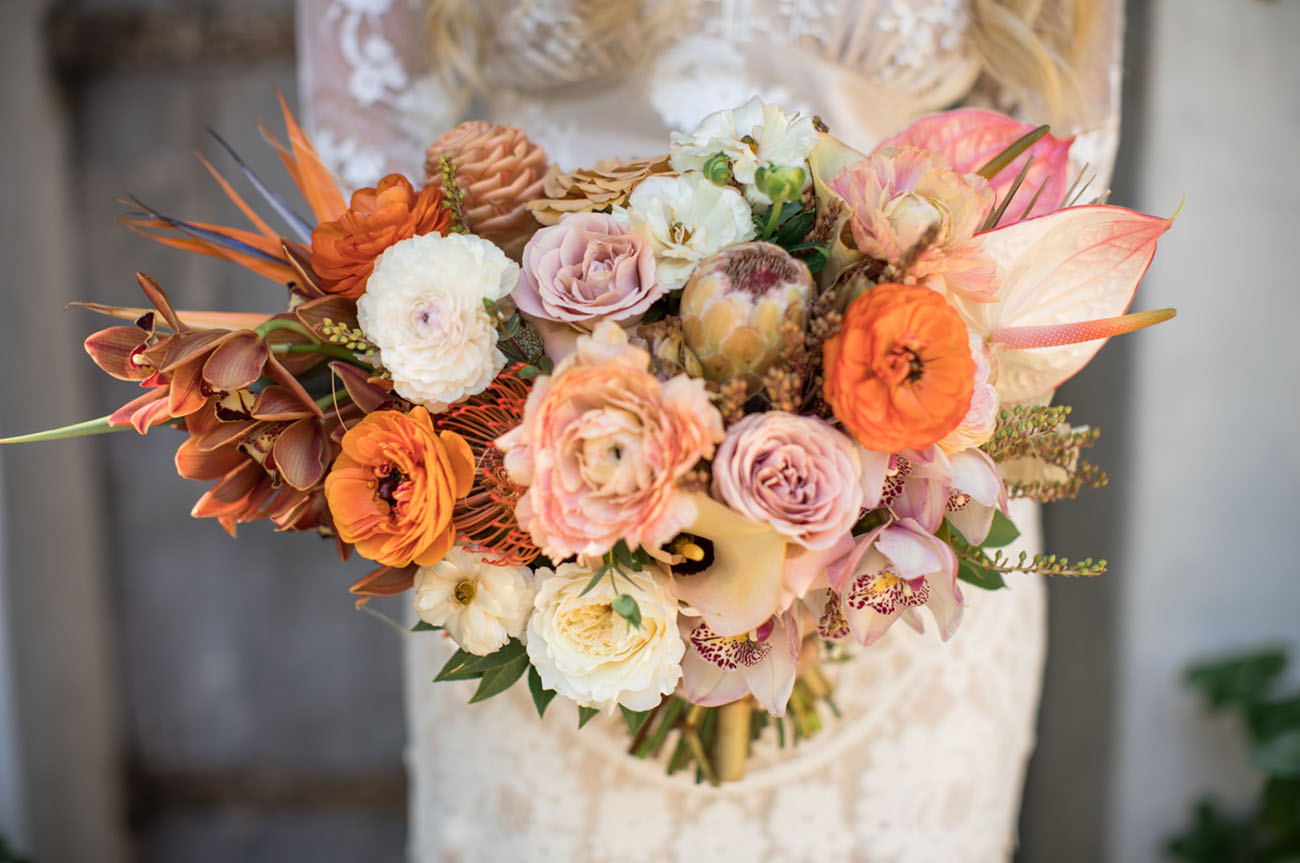orange modern bouquet