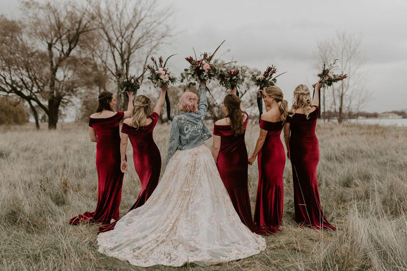 red velvet bridesmaid dresses