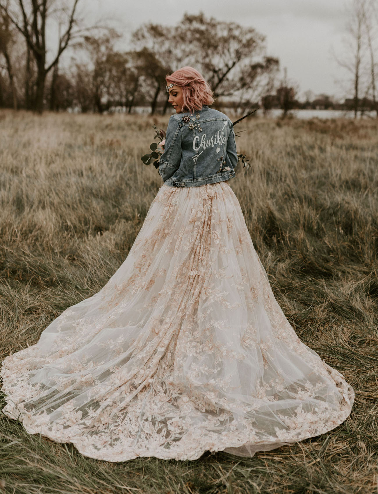custom jean jacket bride