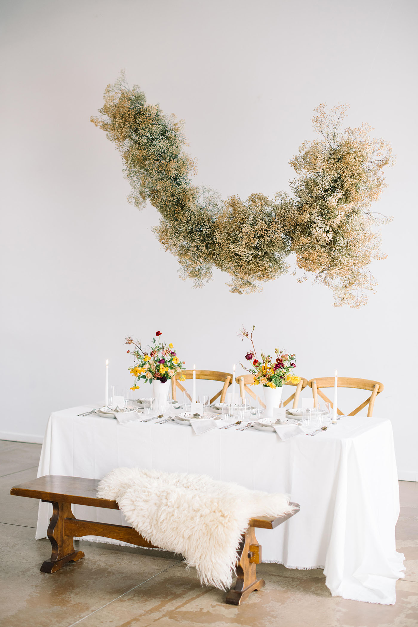 baby's breath installation over the table