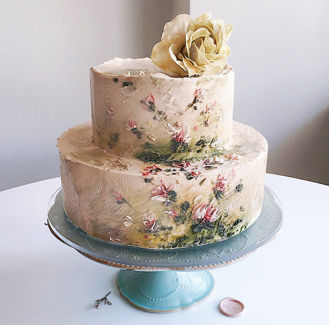 Impressionist Art Painted Floral Cake