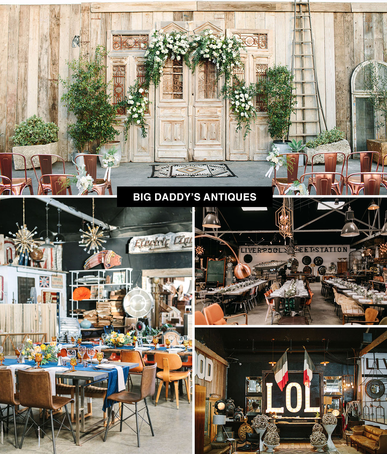 Big Daddy's Antiques wedding venues in Los Angeles and San Francisco - an eclectic place to get married