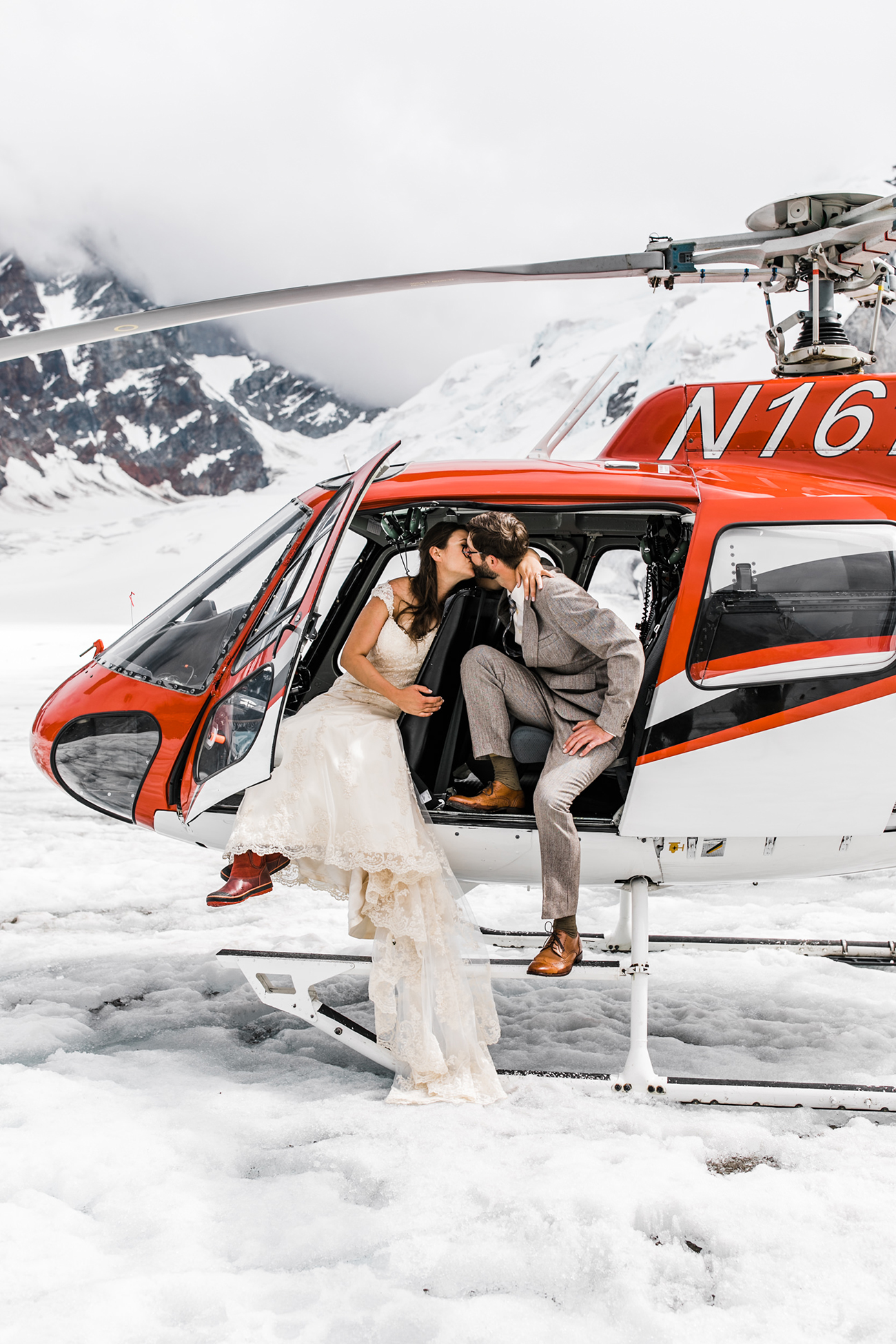 Denali National Park Helicopter Tour Wedding Glacier Landing Hearnes Elopement Photography
