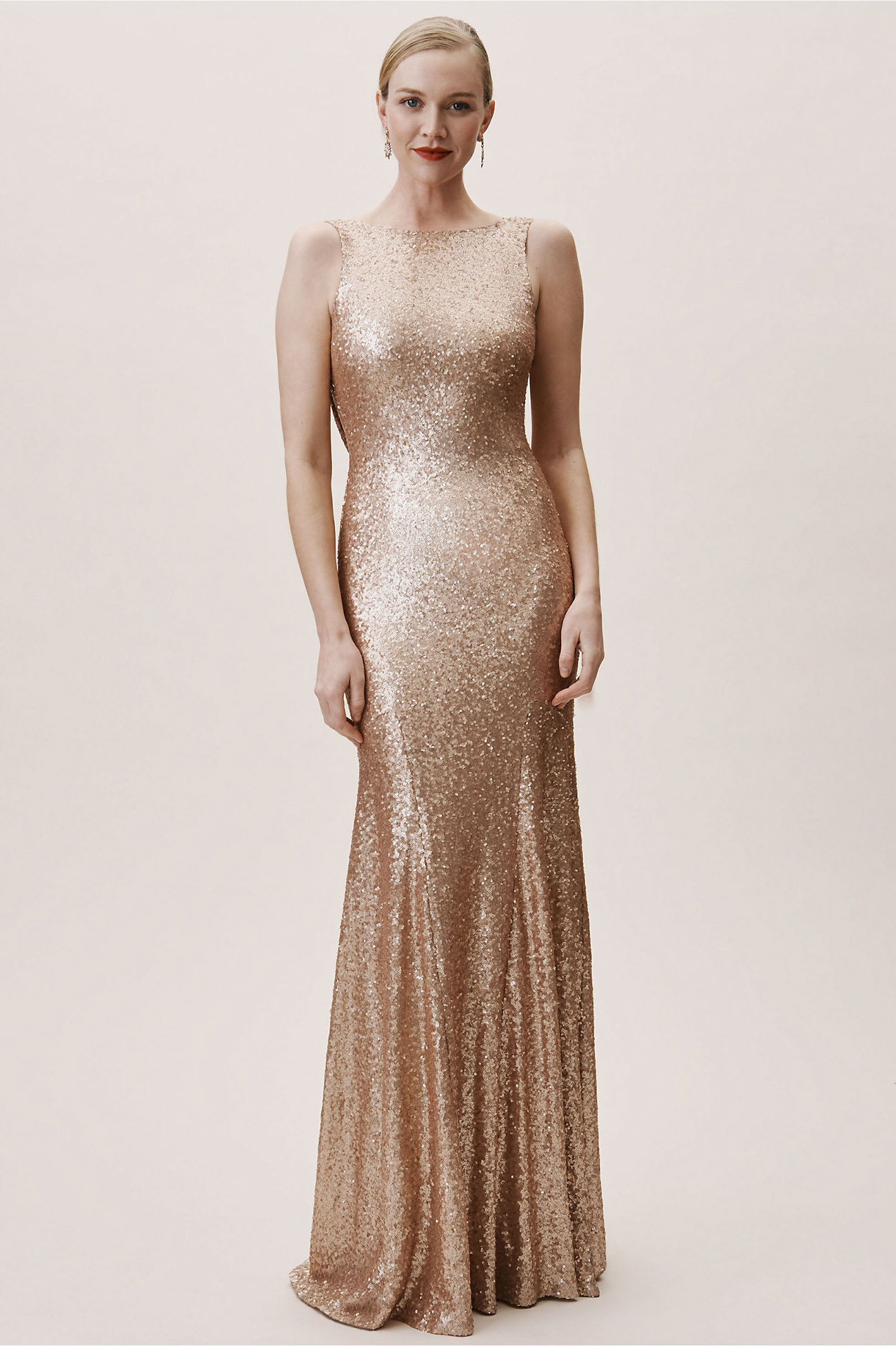 Gemma Bridesmaids Dress in Rose Gold Metallic from BHLDN