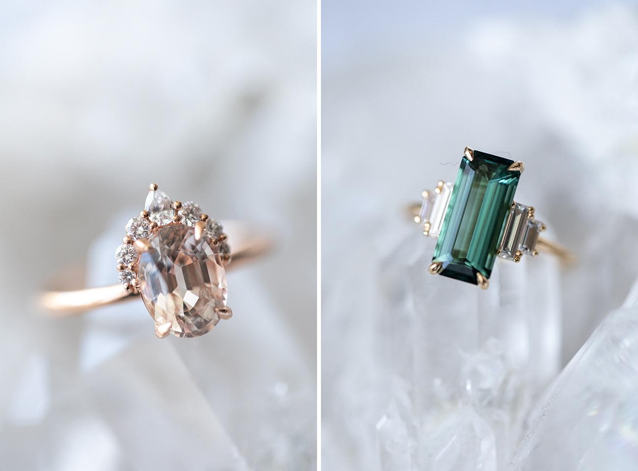 Gemstone Wedding Grew Rings
