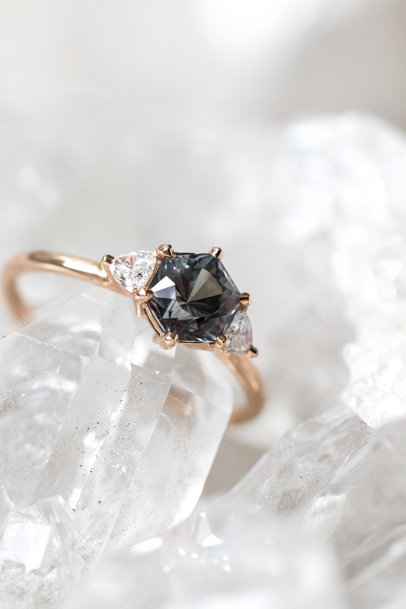HEX grey spinel and diamond ring