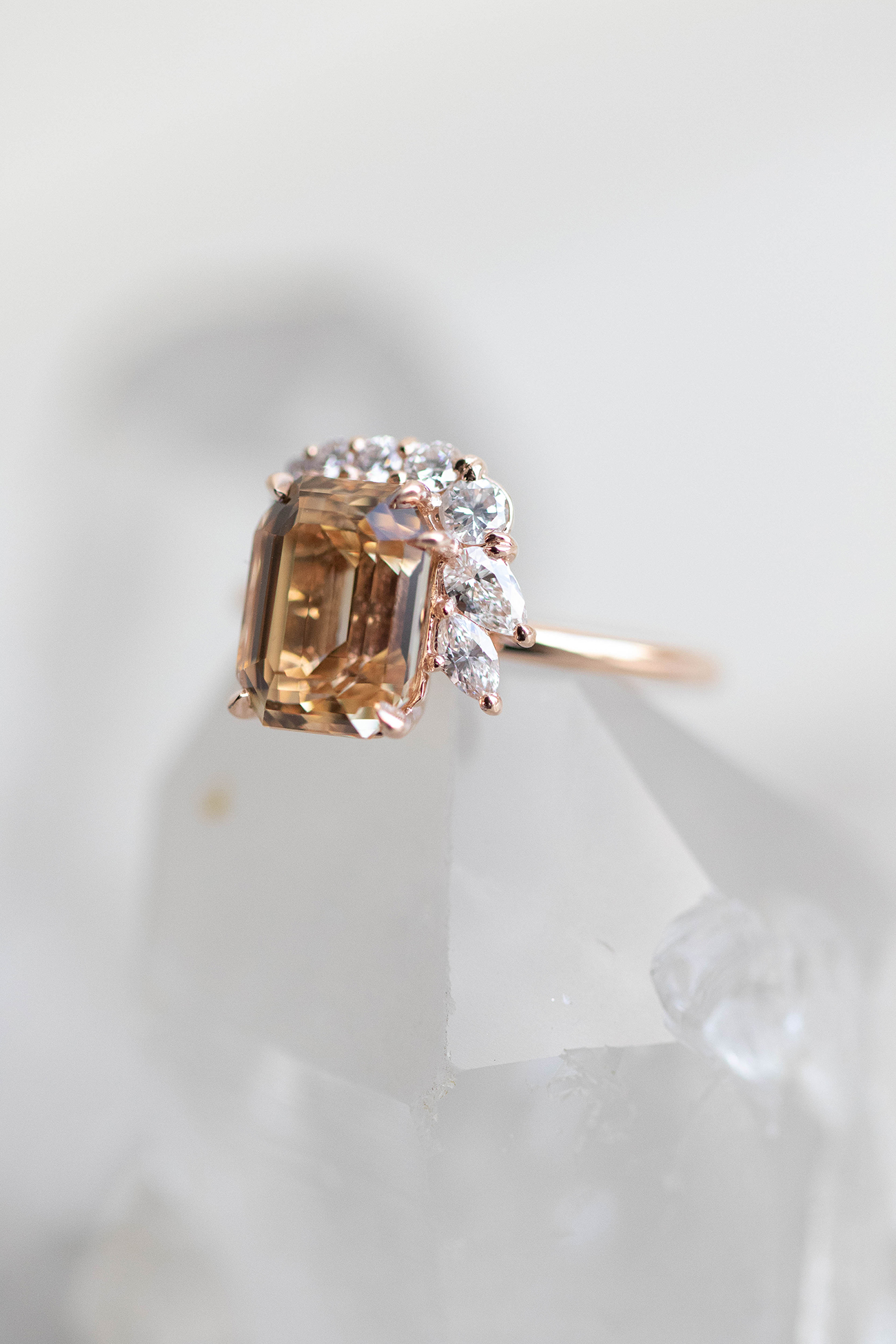 JOY in Apricot Sapphire and diamond ring