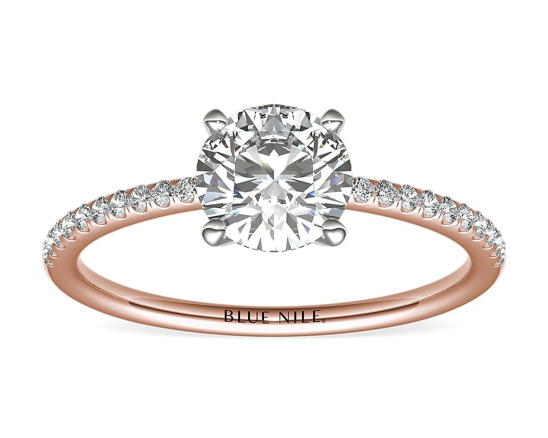 Petite Micropavé Lab-Grown Diamond Engagement Ring by Blue Nile
