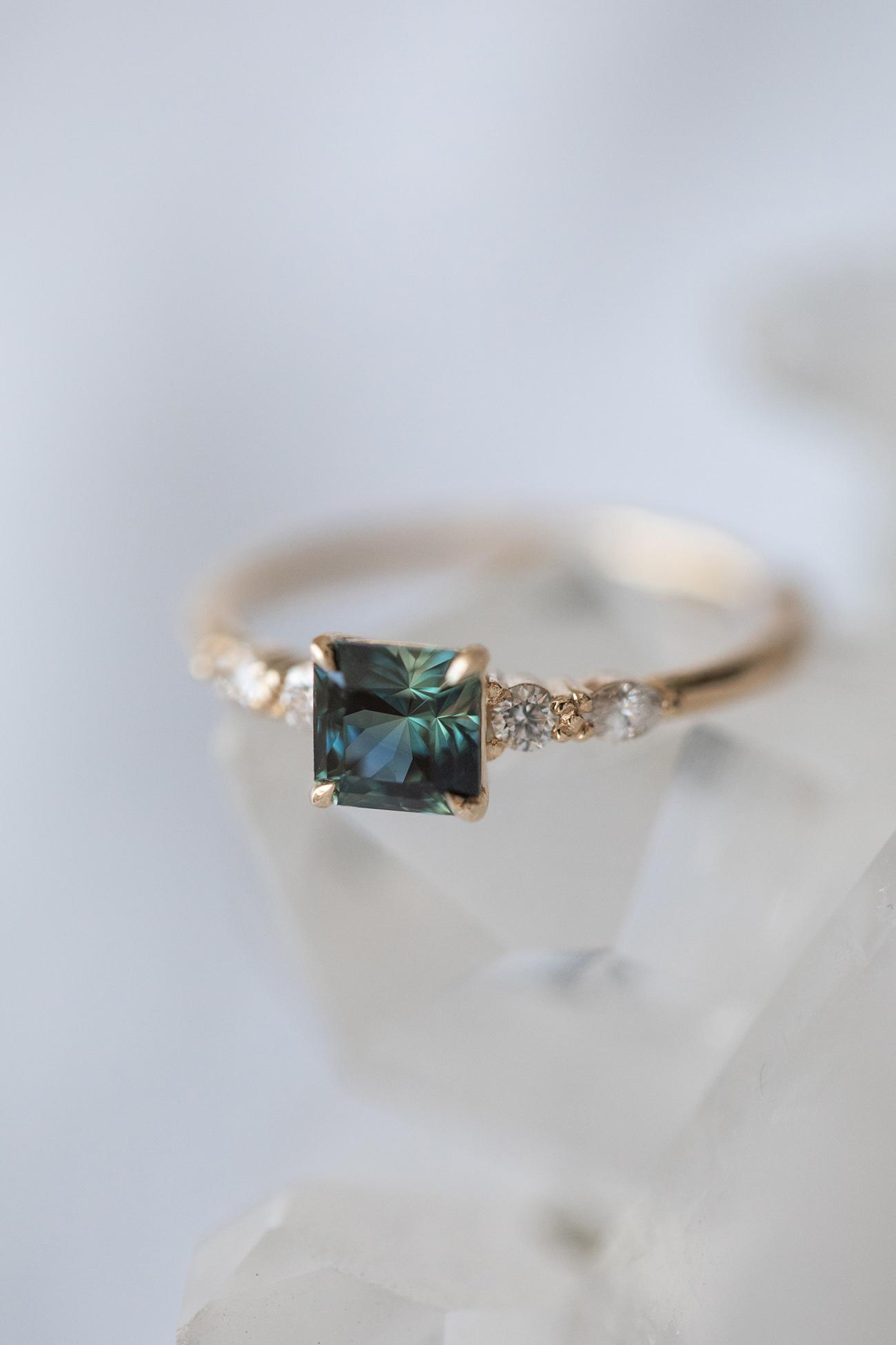 QUINN parti teal sapphire diamond ring