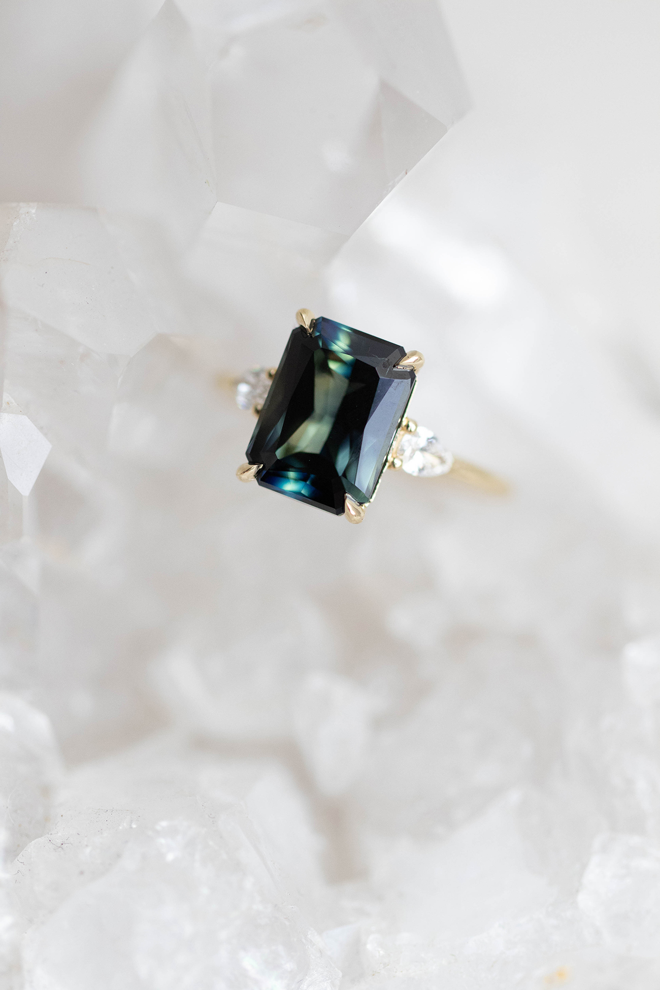 RILEY teal parti sapphire and diamond ring