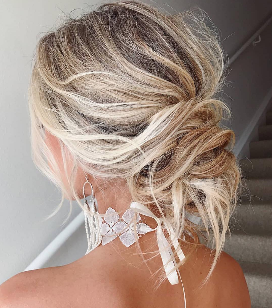 Wedding Hairstyles Boho: Trending Now: Boho-Chic Messy Bun Wedding Hairstyles