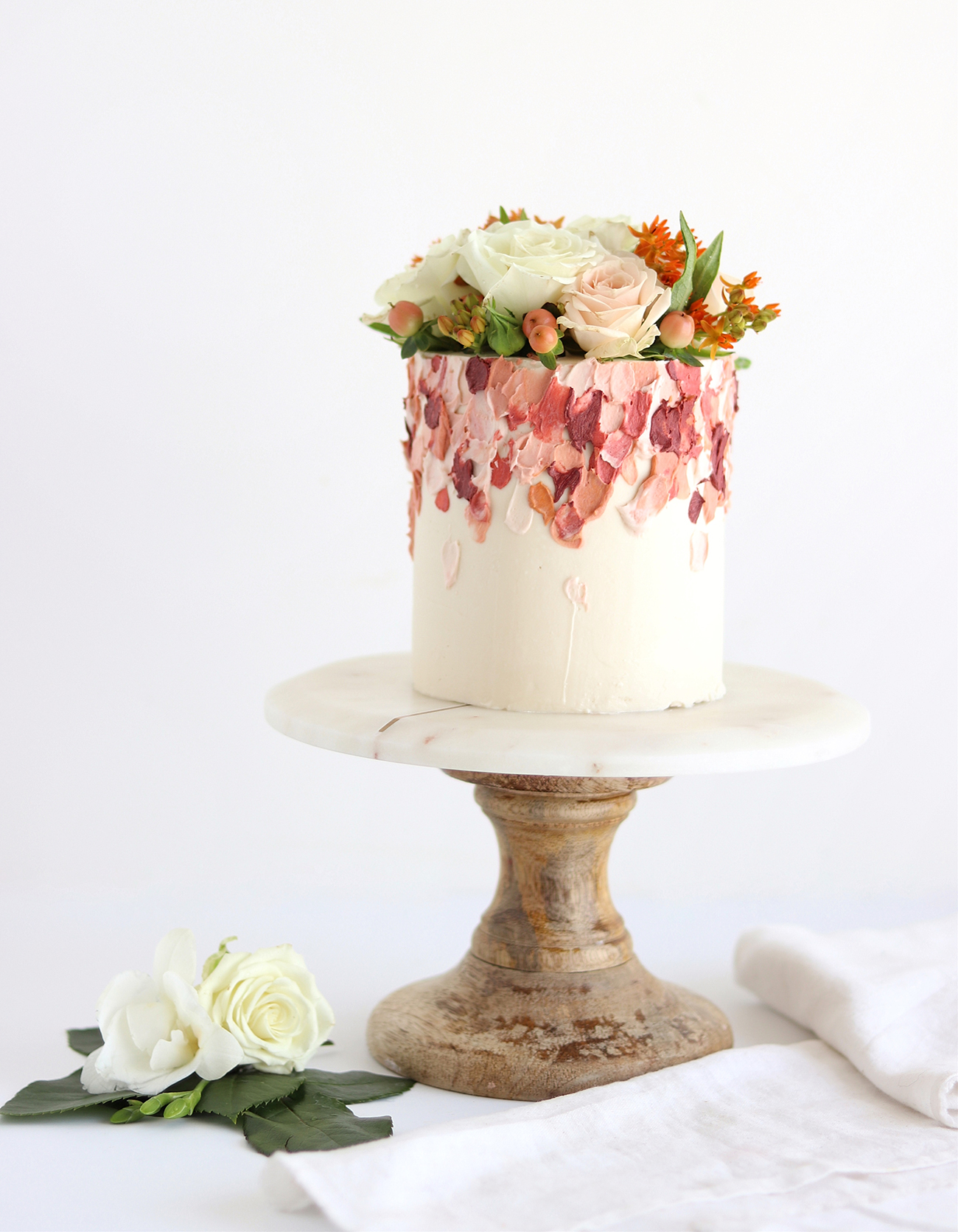Brushstroke Impressionist Art Painted Abstract Floral Cake