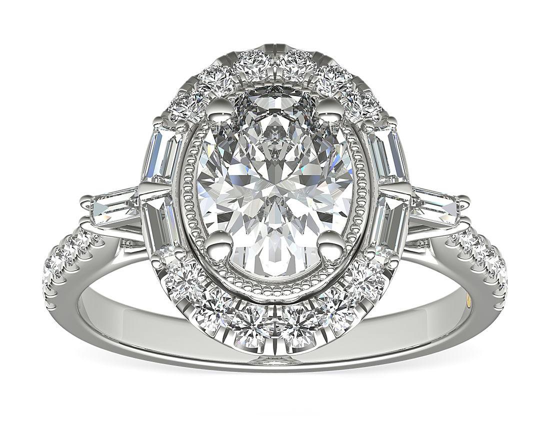 ZAC Zac Posen Oval Vintage Baguette Halo Lab-Created Diamond Engagement Ring