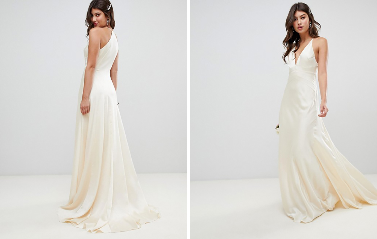 Asos Silk Modern Minimalistic Wedding Dress Under $800 Budget