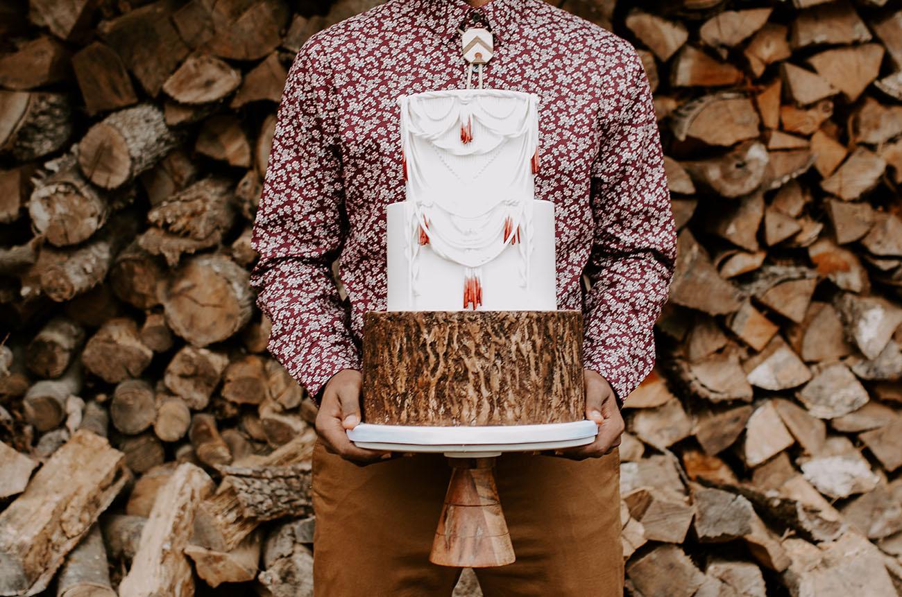 wooden macrame cake