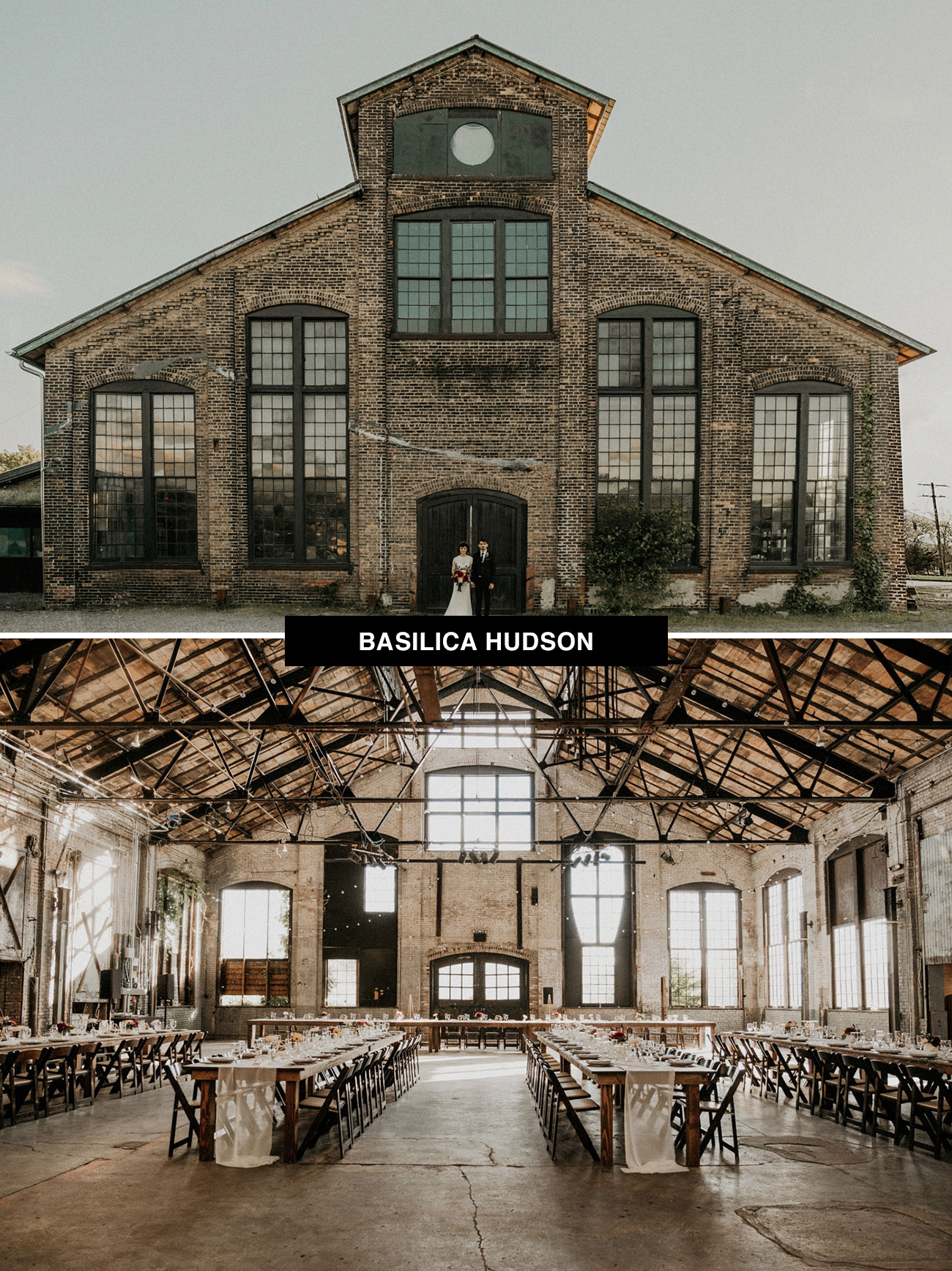 Basilica Hudson wedding venue in New York is a new place to get married with a lot of history and an industrial vibe