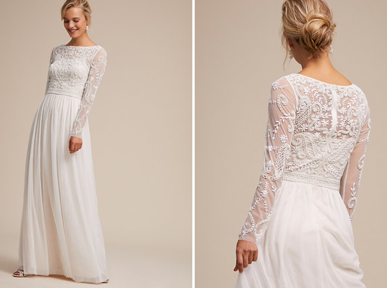 BHLDN Boho Chic Modern Lace Wedding Dress Under $800 Budget