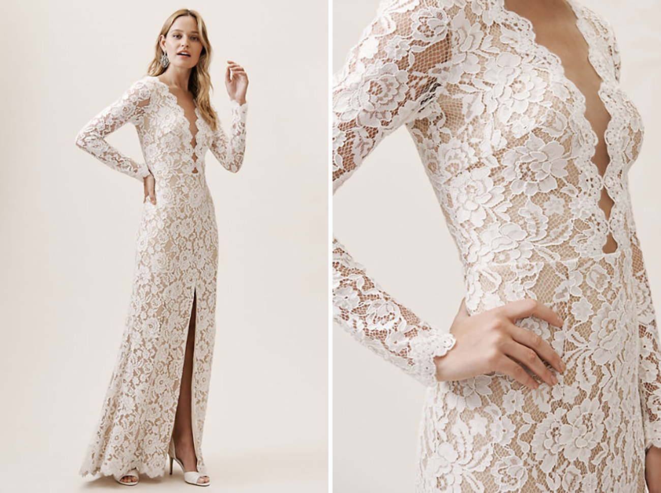 Beige Lace Bhldn Wedding Dress Or Bridesmaid Gown: Our 15 Favorite Wedding Dresses Under $800!